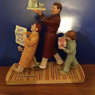 Norman Rockwell Large Figurine Happy Berthday Dear Mother 1979