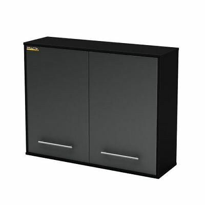 South Shore Karbon Collection Wall Storage Cabinet, Pure Black/Charcoal