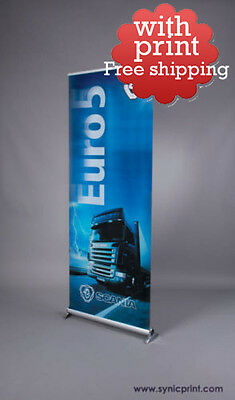 "NEW Retractable Pull Up Banner Stand 32"" SC-02 WITH PRINTING-PRICE REDUCED"