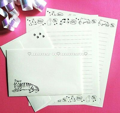 LETTER WRITING SET, PAPER ENVELOPES SEALS! Playful Cats