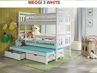 Bunk Beds Wooden Childrens White Pine Adult 3ft Size Kids Frame 3 or 2 sleeper