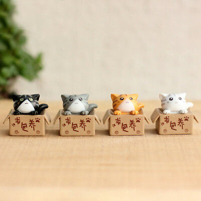 4pcs/set Potted Plants Decor Cheese Cats Doll Action Figures Toys Play Set