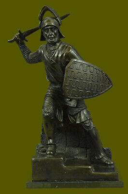 Medieval European Crusader Warrior Knight Bronze Sculpture Statue Decor War Sale