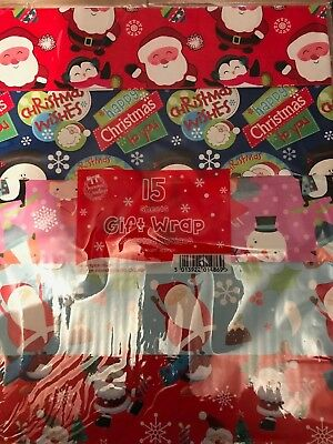15 Sheets Christmas Gift Wrap Wrapping Paper Assorted Designs Cute & Traditional