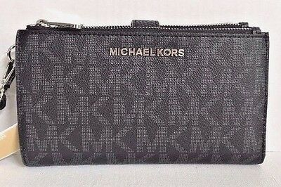 NWT Michael Kors Jet Set Travel Double Zip Wristlet Wallet PVC Black