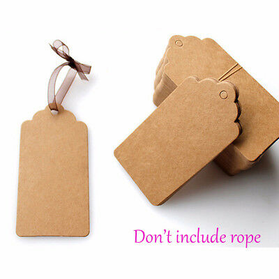 100PCS Favors DIY Hanging Lace Scallop Head Kraft Paper Gift Tag Rectangle