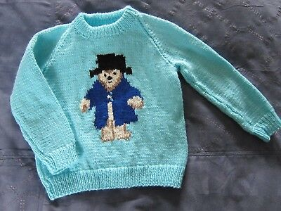 Hand Knitted Kids Sweater, Paddington Bear, Child Toddler Boys Clothes Knitwear
