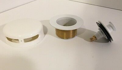AB&A Bright White Solid Brass Tub Drain W/ Plastic Overflow Cover Push/Lift