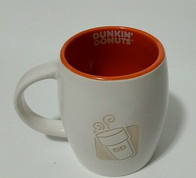 Vintage DUNKIN DONUTS COFFEE MUGS ENGRAVED 14 OZ NEW 2012 ORANGE & WHITE