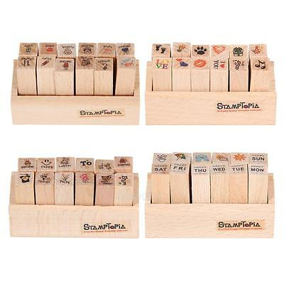 DIY Cute Cartoon Wooden Rubber Stamp for Diary Scrapbook 12 pcs/set