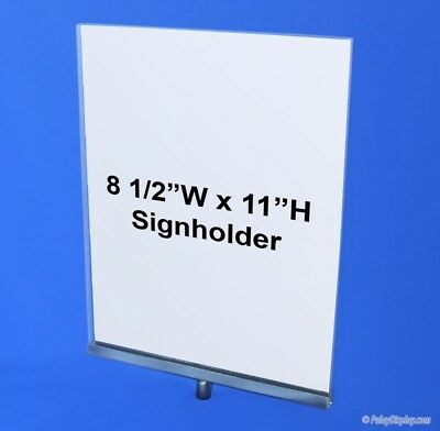 """11""""H x 8.5""""W Clothing Rack Sign Holder w/ 3/8"""" Threaded Receiver  - 6 available"""