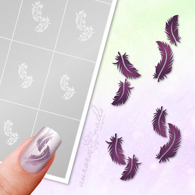 Schablonen Airbrush + Nailart SET81 Feder Federn Vogel feather selbstklebend SET