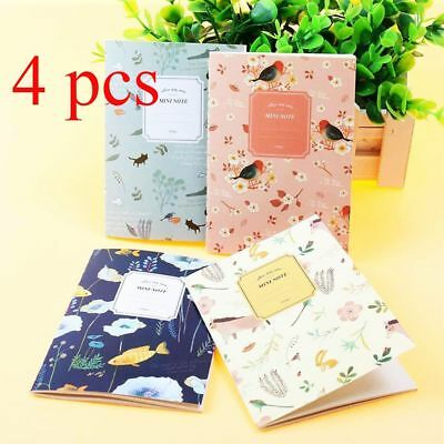 4PCS Cute Mini Vintage Flower Notebook Cute Notepads Kids Gift Journal Diary New