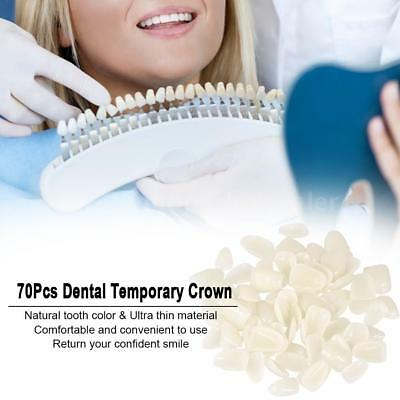 70Pcs Dental Temporary Crown UltraThin Tooth Patch Resin Porcelain Material C7T5