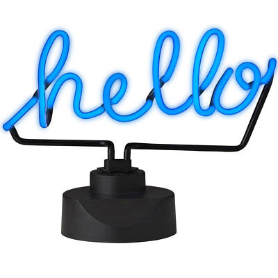 Amalfi 33cm Neon Light Art Sign Hello Handmade Visual Lamp Table Side Decor Blue
