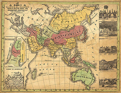 Map Asia Olneys 1847 Vintage A1+ High Quality Canvas Art Print