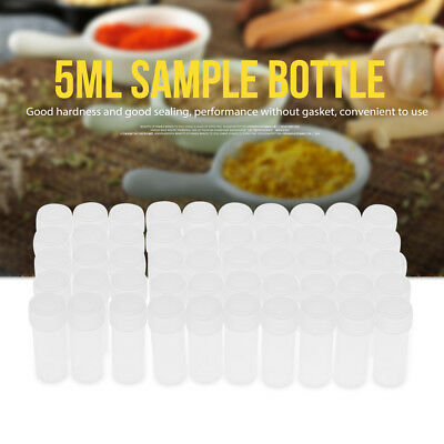 50x Plastic Mini Sample Bottle 5ml Test Tube Small Vial Storage Lid Container