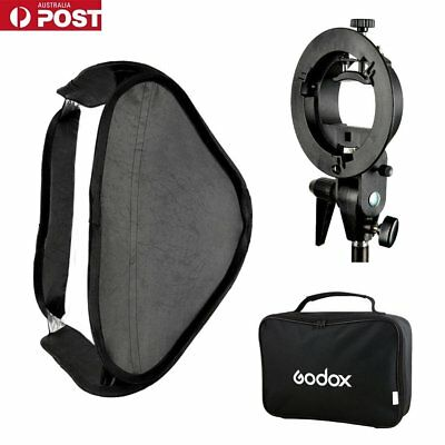 AU Godox S-Type Flash Bracket Holder Bowens Mount + 80x80cm Foldable Softbox Kit
