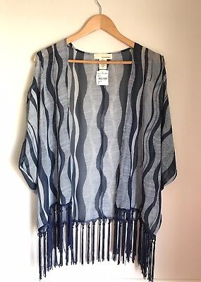 Womens New Kimono Bolero Shrug Vest - One Urban Day - Blue Ivory Tassel - Size L