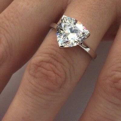4.1.ct Trillion Cut Solitaire Diamond Engagement Ring 100% Sterling Silver 🇦🇺