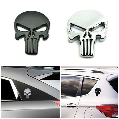 3D Metal Emblem Badge Decal Sticker The Punisher Skull Car Motorcycle Waterproof