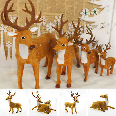 Plush Xmas Reindeer Ornament Sika Deer Toys Anima Doll Gift Holiday Party Decor