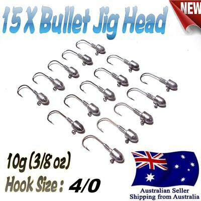 15X 10g (3/8 oz) Hook size 4/0 Like Fishing Bullet Jig Head Chemically Sharpened