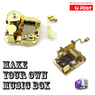Music Box Boxes Movement Mechanism For DIY 5 Songs Gold Hand Crank Wind Up