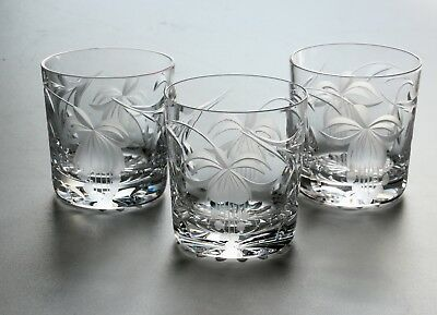 Royal Brierley Fuchsia, 3 X Whisky Glasses.