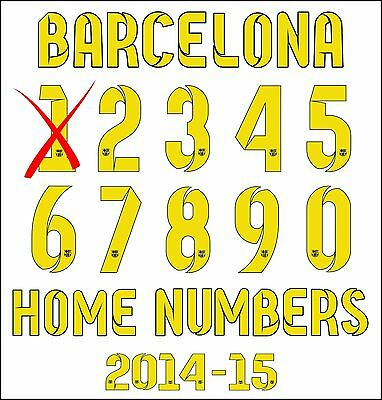 Barcelona Official Home Football Shirt Adult Numbers 2014/15 Iron on Print