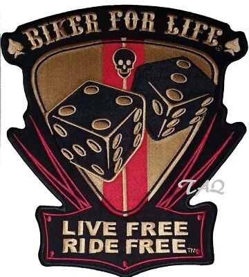 BIKER FOR LIFE Skull Dice Live Free Ride Free EMBROIDERED Iron sew on Patch