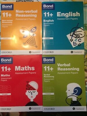 Bond 11+ Plus Assessment Papers 8-9 years 4 Books English Maths Verbal Reasoning