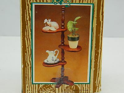Vintage Miniature Wooden Curio Stand Table Top Plant Stand Knick Knack 1980s