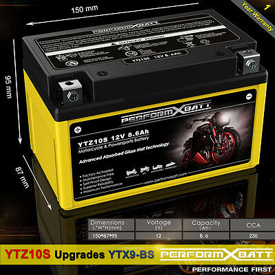AGM Battery YTZ10S Upgrades YTX9-BS Motorcycle