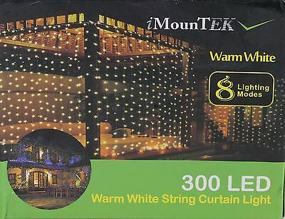 NEW iMounTEK 300 LED Warm White String Curtain Light Water Resistant Copper Wire