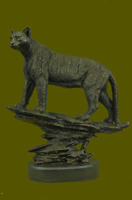 African Mountain Lion Bronze Sculpture Bust Signed Art Deco Marble Base Figurine