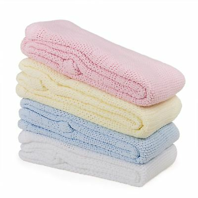 Junior Joy Cot 100% Soft Cotton Cellular Baby Blanket Breathable Safe Warm, Pink