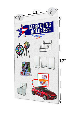 "11""W x 17""H Window Ad Frame Sign Holder Display w/ 2 Suction Cups w/ Hooks Qty 6"