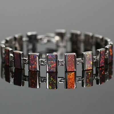 EXQUISITE RED/BROWN FIRE OPAL STERLING SILVER BRACELET 20cm