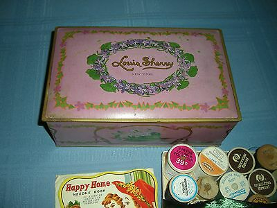 Louis Sherry tin candy box with vintage spools of thread
