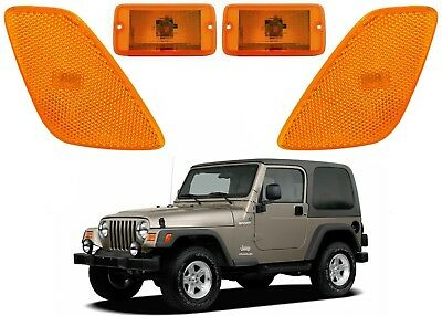 Replacement LH & RH Side Marker & Turn Signal Lights For 1997-2006 Jeep Wrangler