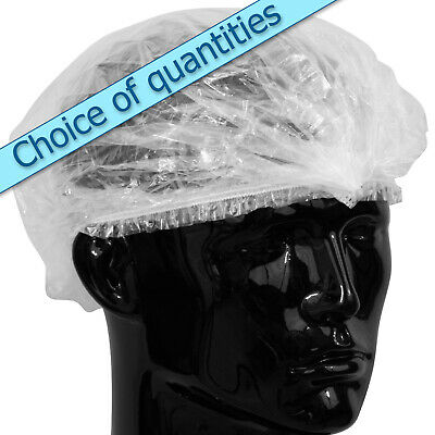 Shower caps, clear, generous size, waterproof, elasticated in individual bags
