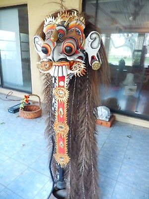 Balinese Boma Barong Mask of Guardian Topeng Demon wearable authentic costume.