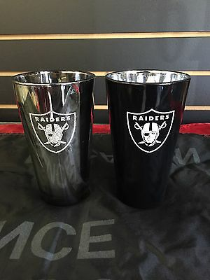 Oakland Raiders Pint Drink Glasses- Made In The Usa- 2 Glass Set