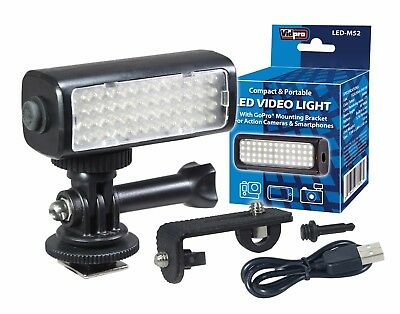 Vidpro LED-M52 Mini LED Video Light for Action Cameras, Camcorders & Smartphones