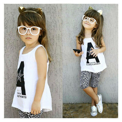 Stunning Girls Kids Outfit White Athletic Vest Top and 3 Quarter Pant Set Age
