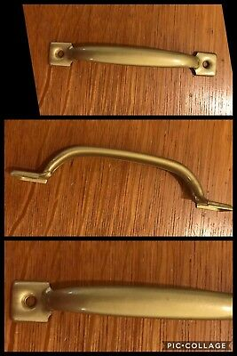 1 HANDLE PULL Screen Door Utility Library Cabinet Cupboard Antique Brass Vintage