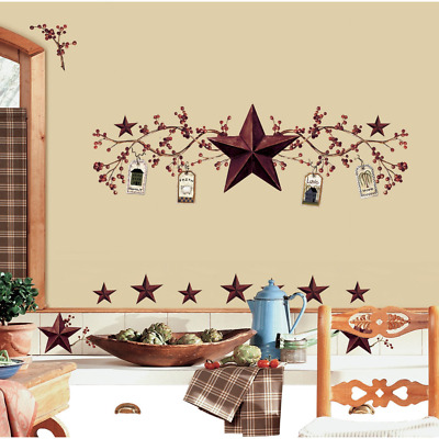 RoomMates Country Stars and Berries Peel & Stick Wall Decals, 40 Count