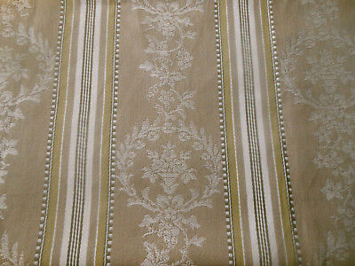 Antique French Floral Wreath Urn Cartouche Stripe Ticking Fabric ~  Tan Olive