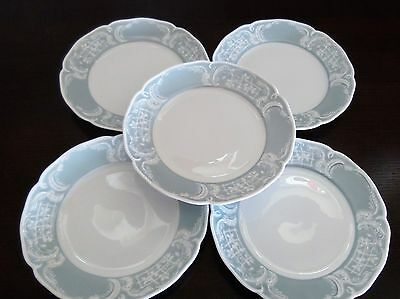 Rosenthal Sansscouci Blue Foundation Blue Rim White Scrolls Bread & Butter  x5